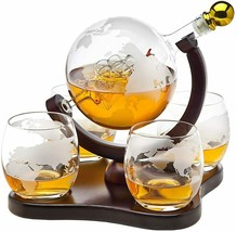 Decanter Globe Set with 4 Etched Whiskey Glasses - $79.00