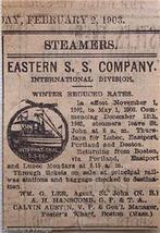 1903 Eastern S. S. Company Steamship Sailings Ad - $4.50