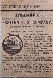 1903 Eastern S. S. Company Steamship Sailings Ad