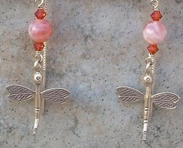 Sterling Silver Dragonfly Fire Agate Gemstone Sterling Silver Threader E... - $25.99
