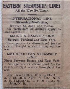 1917 Eastern Steamship Lines Vintage Ad International Maine & Metropolitan