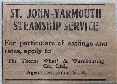 1917 St. John - Yarmouth Steamship Service Ad
