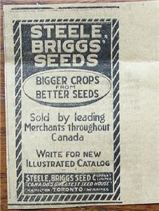 "1920 Steele Briggs Seeds ""Bigger Crops Better Seeds"" Ad"
