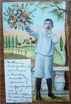 1906 PC Vocal Greetings - Boy Holding Flower Bouquet - $4.95