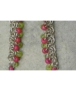 Chainmail Earrings Argentium Sterling Silver, Coral Lime Seed Beads Chai... - $27.99