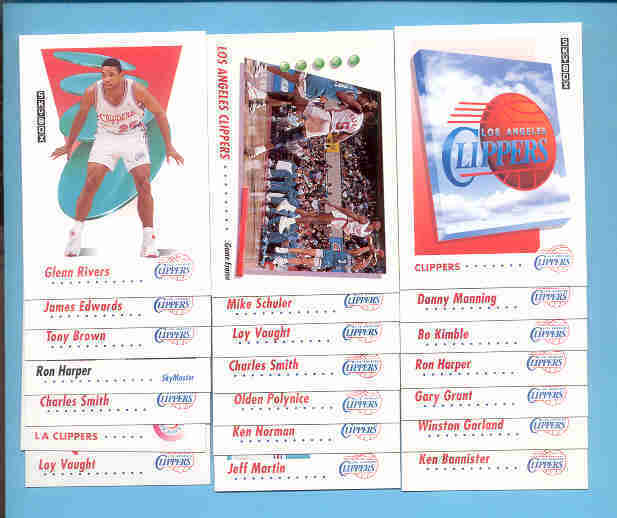 1991/92 Skybox Los Angeles Clippers Basketball Team Set