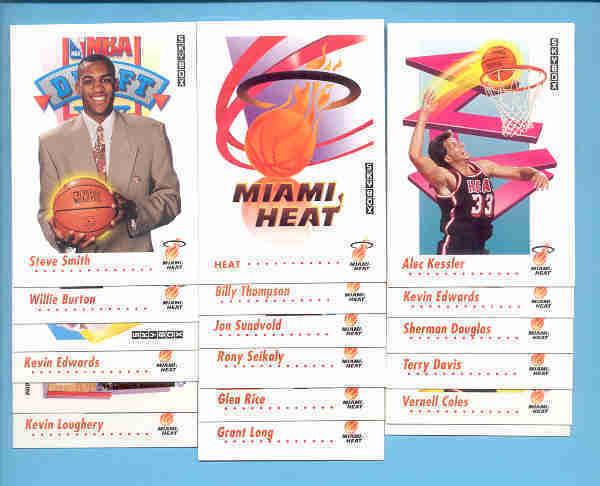 1991/92 Skybox Miami Heat Basketball Team Set