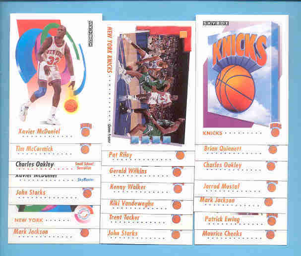 1991/92 Skybox New York Knicks Basketball Team Set