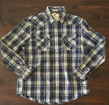 American Eagle Vintage Fit Western Pearl Snap Blue Plaid Shirt Mens Extr... - $16.83