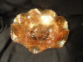 Marigold Carnival Glass Bowl Roses Fluted  8 3/4 inches Mint - $9.99