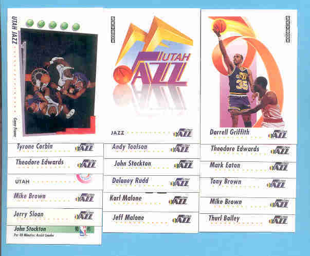 1991/92 Skybox Utah Jazz Basketball Team Set