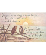 The Snowbirds New Years Good Wishes 1913 Vintage Post Card - $5.00