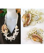 Seashell Necklace Frangia Sliced Lambis Shell Chunky Cream 24k Gold - $89.95