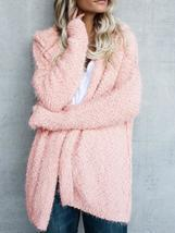 Women Fuzzy Solid Color Hooded Outwear Coats - £32.73 GBP
