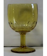 Water Goblet Amber Colored Thumbprint Design Drinking Glass  - $19.95