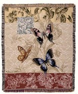 50x60 BUTTERFLY Floral Tapestry Throw Afghan Blanket - $42.50