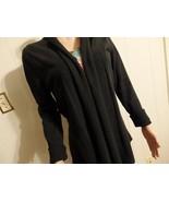 Wome M L 10 12 14 Soiid Black Cardigan Jacket Sweater Knit Long Drape As... - $23.77