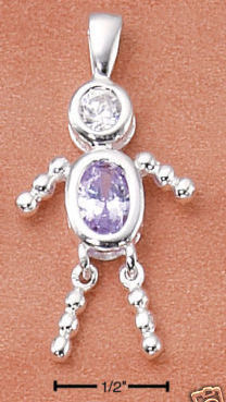 Sterling & CZ Birthstone Kids BOY Charm JUNE