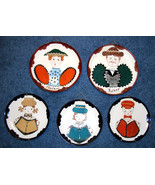 Set of 5 Handcrafted  Country Style Decorator Plates Picturi - $12.00