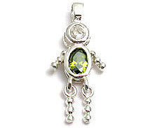 Sterling & CZ Birthstone Kids BOY Charm AUGUST