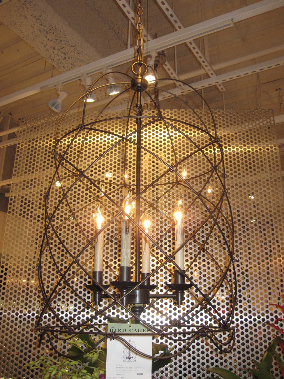 Foyer Caged Chandelier : Wire bird cage foyer light pendant quot h oil rubbed