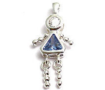 Sterling & CZ Birthstone Kids GIRL Charm MARCH