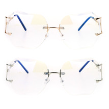 Womens Granny Style Diva Rimless Clear Lens Butterfly Eye Glasses - $12.95
