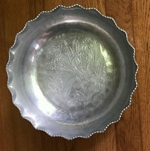 """Vintage Cromwell Hand Wrought Aluminum Serving Bowl Floral Pattern 10.5"""" - $11.87"""