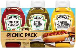 Heinz Ketchup, Sweet Relish & Yellow Mustard Picnic Pack, 3 ct - 54.0 oz Bottles - $11.00
