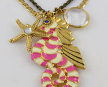BETSEY JOHNSON Pink Stripe SEAHORSE Pendant Nautical Charm NECKLACE - NWT