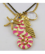 BETSEY JOHNSON Pink Stripe SEAHORSE Pendant Nautical Charm NECKLACE - NWT - $39.50