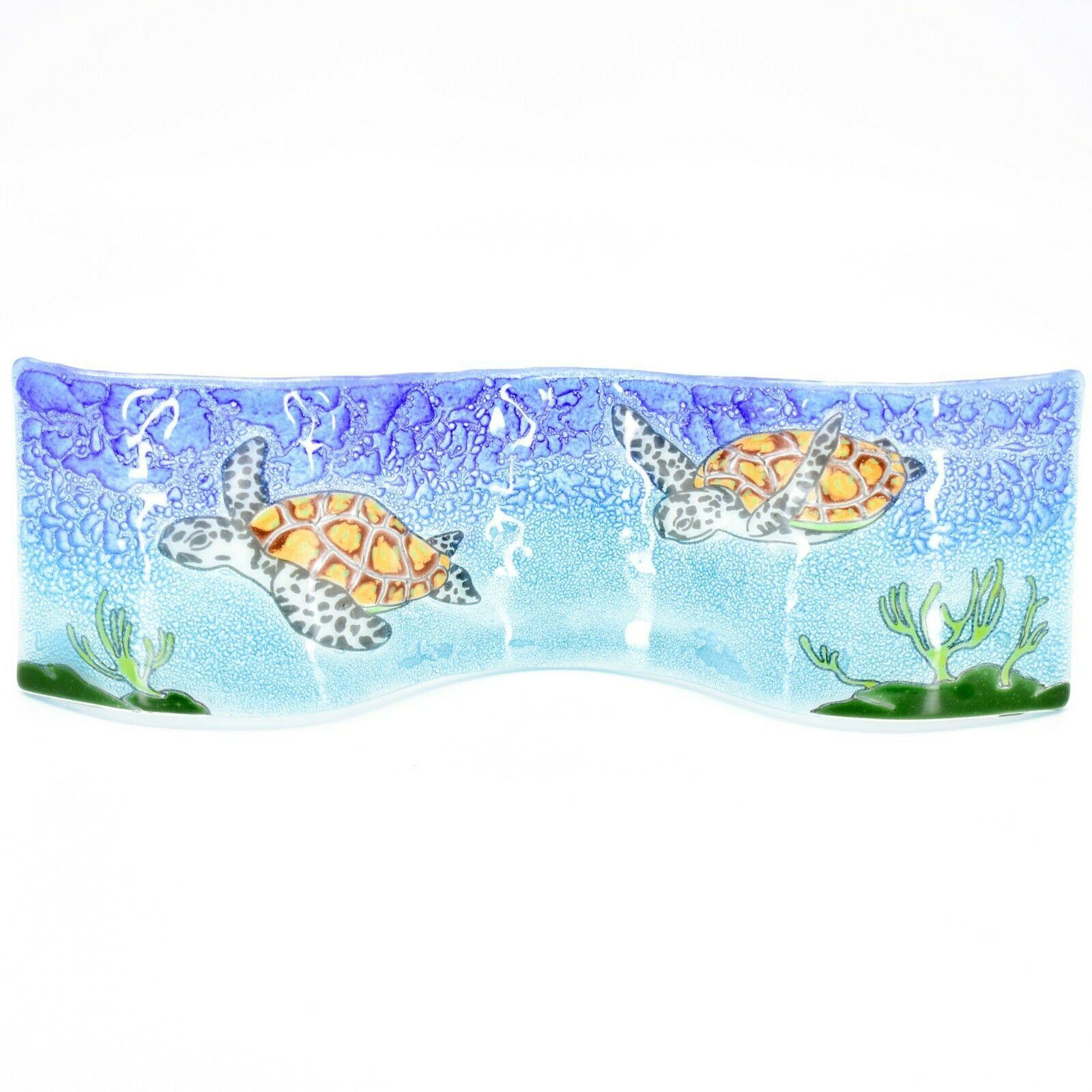 Fused Art Glass Ocean Sea Turtle Wavy Decor Sun Catcher Handmade in Ecuador