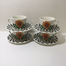 """4 Cups & Saucers Sunny Tabletops Unlimited Sunflowers 6.25"""" - $19.34"""
