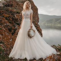 Appliques Bridal Gowns Boho Cap Sleeve A-Line Beach Wedding Gowns Vintage Plus S image 4