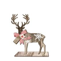 CHRISTMAS DEER SNOWFLAKE GINGHAM HEART WOODEN DECORATION 18.5CM X 21CM X... - $17.77