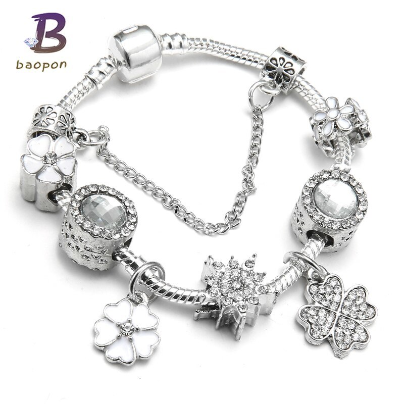 Primary image for Spring Collection European Charm Bracelet Luxury Brand Crystal Beads Snake Chain