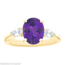 AMETHYST & PEAR SHAPE DIAMOND ENGAGEMENT RING YELLOW GOLD OVAL 10mmx8mm ... - €1.293,46 EUR