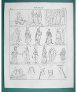 ARAB Egyptian Armenia Hebrew People Costume - 1825 Antique Print - $12.15
