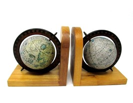 Old World Map Rotating GLOBE Wood BOOK ENDS by Price VINTAGE 1989 - $17.50