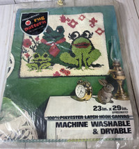 "Vintage Red Heart Rug Pattern 23"" X 29"" -frogs  - $19.35"