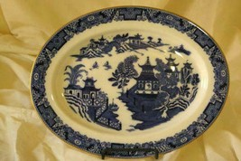 Royal Worcester 1890's Blue Willow Oval Platter Rare Original Gold Trim ... - $50.39