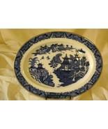 Royal Worcester 1890's Blue Willow Oval Platter Rare Original Gold Trim ... - $55.43