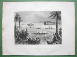 CANADA Ottawa and St. Lawrence Rivers - 1841 Engraving Print by BARTLETT - $12.60