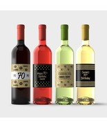 70th Birthday Wine Bottle Labels – Gold and Black 70th Birthday Party De... - $9.41
