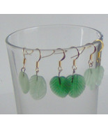 Handcraft  Earrings with Three Styles of Green Leaves, gold Plated Frenc... - $10.95