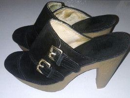 "Michael Kors Black Leather Heels with Decorative Buckles  3.5"" Wedges Si... - $49.99"