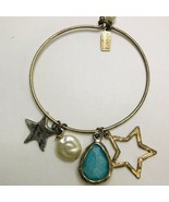 CANVAS SIGNED BANGLE STYLE CHARM BRACELET copper tone K409 - $7.59