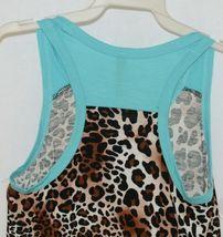 Pomelo Girls Tunic Aqua Brown White Black Leopard Print Size Bedium image 4