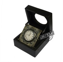 BLACK BOX WOODEN TABLE TOP CLOCK BRASS MADE ANALOG DIAL CLOCK ANTIQUE XM... - $29.02