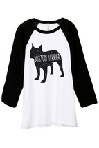 Thread Tank Boston Terrier Dog Silhouette Unisex 3/4 Sleeves Baseball Raglan T-S - $24.99+